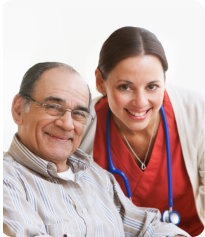 caregiver assisting senior